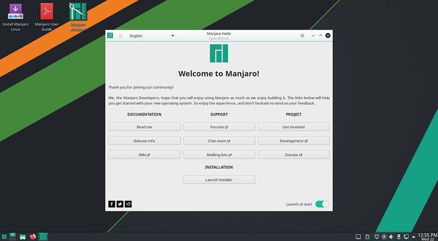 Рабочий стол Manjaro Linux 20.0