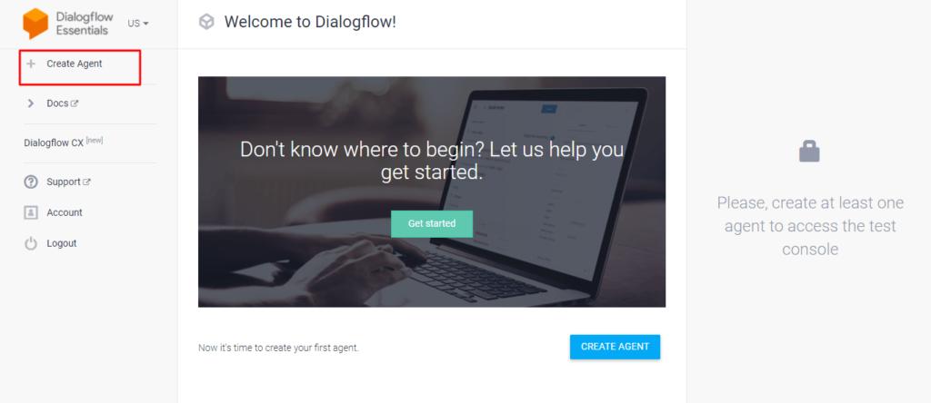 Создаем агент на DialogFlow