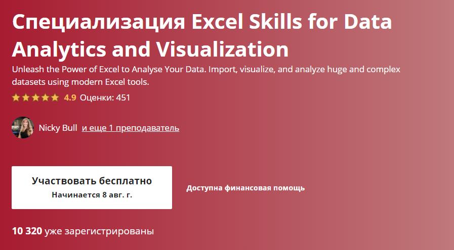 «Excel Skills for Data Analytics and Visualization» от «Университета Маккуори»